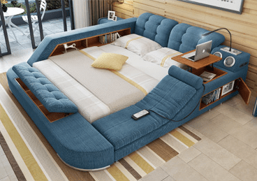 Incredible The Ultimate Bed With Integrated Massage Chair Speakers And Desk Lamtechconsult Wood Chair Design Ideas Lamtechconsultcom